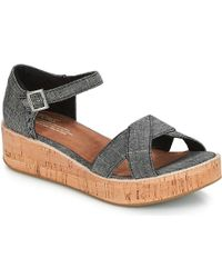 2450adc8919 TOMS Coral Canvas Women s Harper Wedge - Lyst