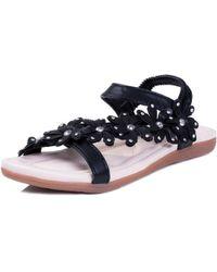 SPYLOVEBUY - Fancy Free Toe Post Sling Back Flower Fashion Flat Diamante Fli Women's Sandals In Black - Lyst