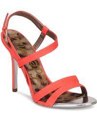 de5b548c6a024 Sam Edelman Womens Abbott Neon Strappy Sandals in Red - Lyst