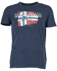 Napapijri   Slood Crew Men's T Shirt In Blue   Lyst