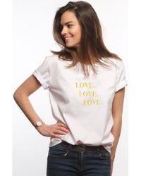 L'affaire De Rufus - Organic Cotton Round Neck T-shirt Love Love Love White Woman Sp Women's T Shirt In White - Lyst