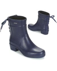 00eae6f6199 Aigle - Miss Juliette Bottilon Lacets Women s Wellington Boots In Blue -  Lyst