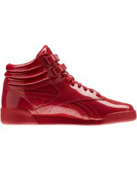 Reebok Freestyle Hi Patent Leather Cn2078 Women's High Boots In Red