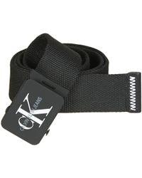 Calvin Klein - J Canvas Plaque Belt 4cm Men's Belt In Black - Lyst