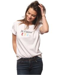 L'affaire De Rufus - Round Neck Embroidered T-shirt 100% Organic Cotton Je T'aime Et Women's T Shirt In White - Lyst