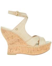Guess - Lailanni Zeppa Wedge Texture Beige Women's Court Shoes In Beige - Lyst