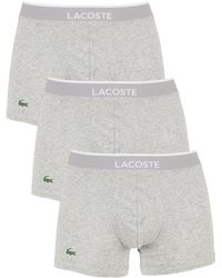 Lacoste - Men's 3 Pack Cotton Stretch Logo Trunks, Grey Men's In Grey - Lyst