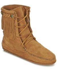 Minnetonka - Double Fringe Tramper Women's Mid Boots In Brown - Lyst