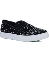 SPYLOVEBUY - Bling Bling Star Diamante Flat Loafer Shoes - Black Suede Style Women's Slip-ons (shoes) In Black - Lyst