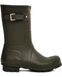 HUNTER - Original Short Rain Boot Green Men's Wellington Boots In Green - Lyst