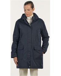 Mat De Misaine - Hooded Waterproof Parka Famous Navy Blue Women's Parka In Blue - Lyst