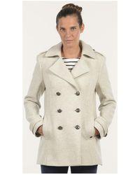 Mat De Misaine - Pea Jacket Florence Off White Women's Coat In White - Lyst