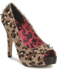 Abbey Dawn - Platform Peeptoe Women's Court Shoes In Brown - Lyst
