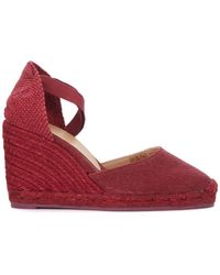 Castaner - Carina Natural Jute And Cherry Red Wedge Sandal Women's Sandals In Red - Lyst