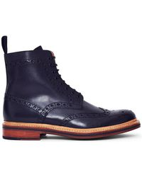 Grenson - Fred Leather Brogue Boot Black Men's Mid Boots In Black - Lyst