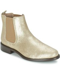 Betty London - Laminate Women's Mid Boots In Gold - Lyst