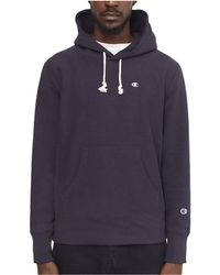 Champion - Classic Reverse Weave Hoodie Navy Men's Sweater In Blue - Lyst