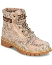 Caterpillar - Lyric Women's Mid Boots In Gold - Lyst