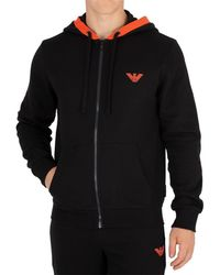 Armani - Men's Zip Hoodie, Black Men's Sweatshirt In Black - Lyst