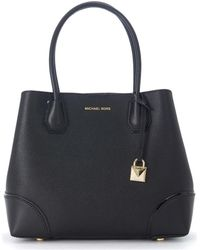 MICHAEL Michael Kors - Borsa A Spalla Mercer Gallery Media In Pelle Nera Women's Handbags In Black - Lyst