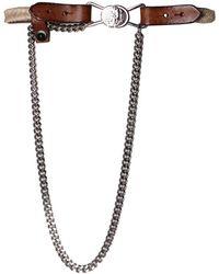DIESEL - - Leather And Jute Belt Bebi Women's Belt In Brown - Lyst