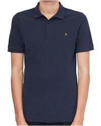 Farah | Blaney Short Sleeve Polo Shirt Navy Men's Polo Shirt In Blue | Lyst
