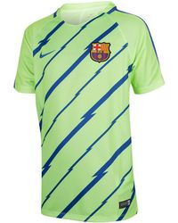 Nike - 2016-2017 Barcelona Pre-match Dry Training Shirt (ghost) Women's T Shirt In Green - Lyst