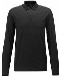 BOSS - Pleins Long Sleeves Polo Shirt Black - Lyst