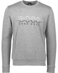 e778c06d5 BOSS Salbo Logo Sweatshirt, Navy Blue Crew Neck Sweat in Blue for Men - Lyst