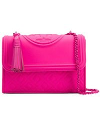 f23c65570be5 Lyst - Tory Burch  fleming  Medium Quilted Leather Bag in Pink