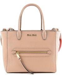 Miu Miu - Madras Shopping Bag - Lyst e810fd30f4d84