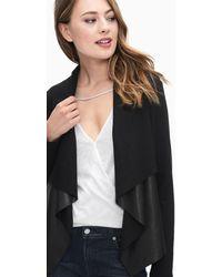 Splendid - Faux Leather Drape Jacket - Lyst