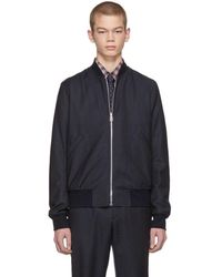 PS by Paul Smith - Grey And Navy Plaid Bomber Jacket - Lyst