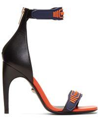 Versace - Navy & Orange Logo Strap Sandals - Lyst
