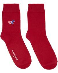 Maison Kitsuné - Red Fox Logo Socks - Lyst