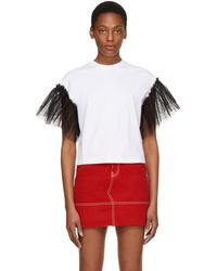 MSGM - Ssense Exclusive White Contrast Bow T-shirt - Lyst