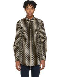 Burberry - Beige And Navy Strenton Shirt - Lyst