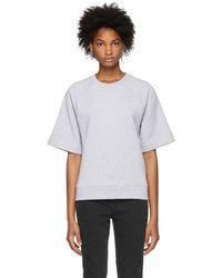 Tibi - Grey Short Sleeve Sweatshirt - Lyst