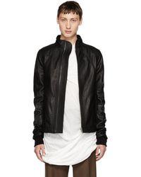 Rick Owens - Black Leather Intarsia High Neck Jacket - Lyst