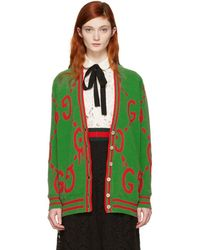 Gucci - Green Oversized Ghost Cardigan - Lyst