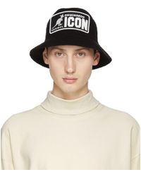 DSquared² - Black And White Kangaroo Bucket Hat - Lyst