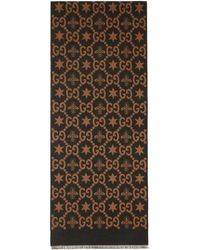 Gucci - Foulard brun et gris Jacquard Bees and Stars GG - Lyst
