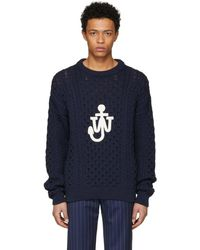 J.W. Anderson | Navy Cable Knit Logo Sweater | Lyst