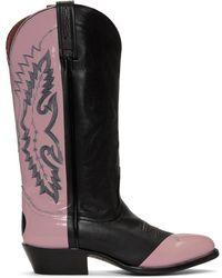 Helmut Lang - Black And Pink Sarah Morris Edition Cowboy Boots - Lyst