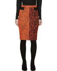 Avelon - Red-orange Animal Print Jacquard Skirt - Lyst
