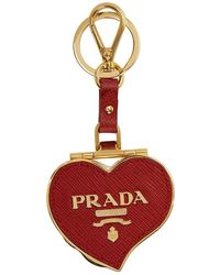 Prada - Red Heart Pill Box Keychain - Lyst