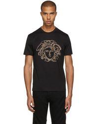 Versace - Black Studded Medusa T-shirt - Lyst