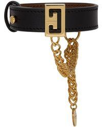 Givenchy - Black Leather Logo Heart Bracelet - Lyst
