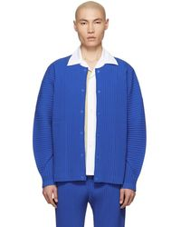 Homme Plissé Issey Miyake - Blue Cotton Surface Pleated Cardigan - Lyst