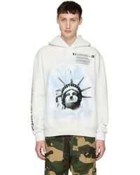 Off-White c/o Virgil Abloh - Pull a capuche blanc casse Liberty - Lyst
